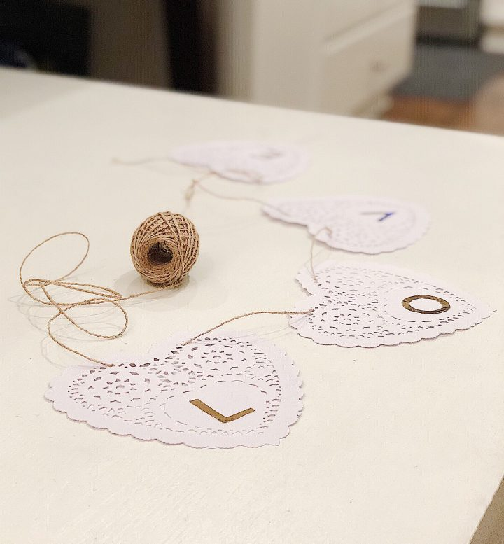 DIY Valentine's Day Doily Banner – Get everything from the dollar store!